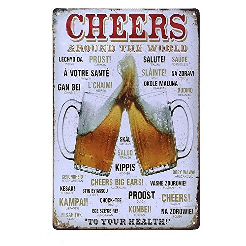Retro Signs Home Decorative Plates CHEERS Beer Shabby Chic Metal Sign Art Poster Vintage Tin for Door Wall Pub Poolside Bar Metal Party Theme (Cheers Pub Sign)