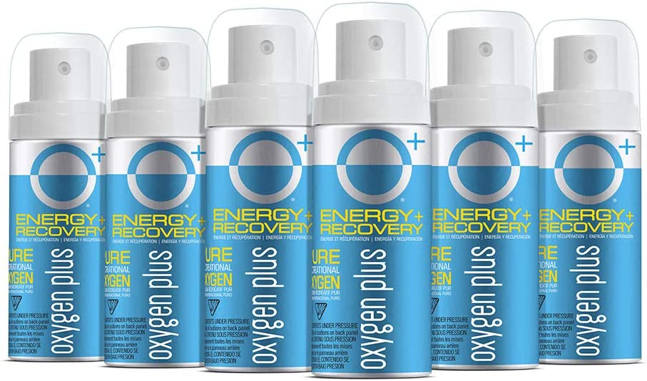Oxygen Plus 99.5% Pure Recreational Oxygen Cans – O+ Mini 6-Pack – Natural Energy and Recovery – 1.55 Liter Cans, 5+ Uses – FDA-Registered Facility Oxygen – Canned Oxygen for Travel, Work, Study, Play