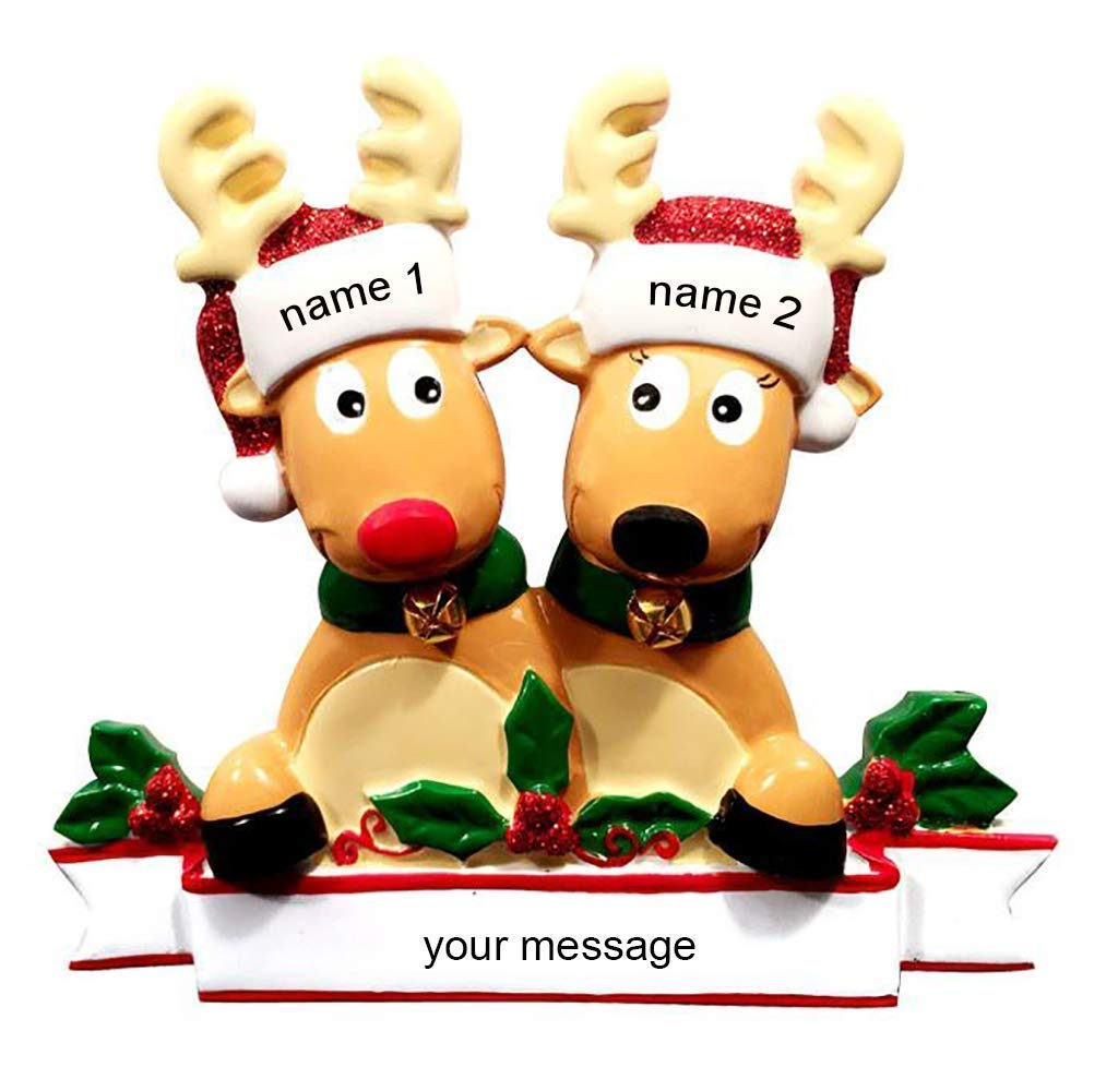 New Reindeer Family of 2 Ornament Personalised Christmas Bauble Decoration