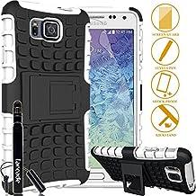 LARCADE (TM) 3 in 1 Bundle - Samsung Galaxy ALPHA - Heavy Duty Grenade Armor Case with Kickstand - White (Include Premium Screen Protector & Sensitive Cap Stylus Pen by LARCADE)