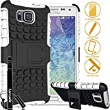 LARCADE (TM) 3 in 1 Bundle - Samsung Galaxy ALPHA - Heavy Duty Grenade Armor Case with Kickstand - White (Include Premium Screen Protector & Sensitive Cap Stylus Pen by LARCADE)