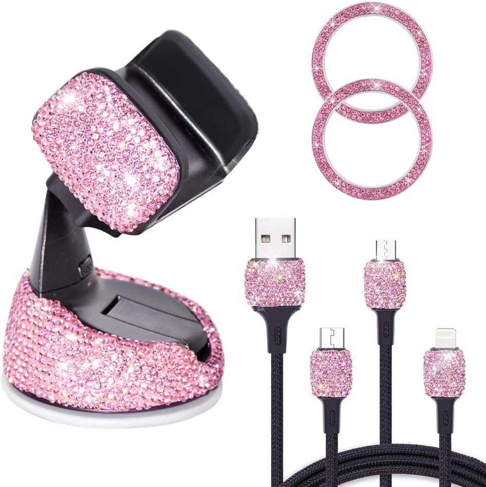 Bling Crystal Rhinestone Car Phone Holder Mount with One More Air Vent Base, Extra with USB 3-in-1 Multi Charging Cable and 2 Car Decor Button Ring, Bling Car Accessories for Women, Pink