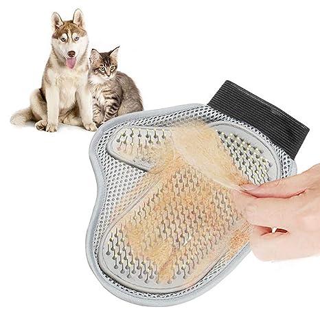 Wuudi Guante de Cepillo de Pelo para Mascotas, de Acero Inoxidable, con Cepillo de