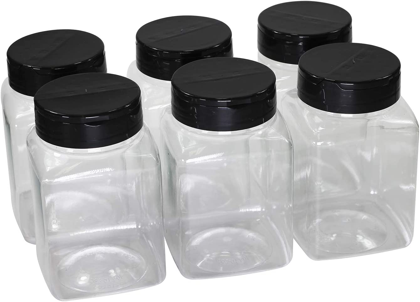 Pinnacle Mercantile Plastic Spice Jars 6-Pack Square Large 17 oz.Clear Containers Sifter Shaker Spoon Lid Refillable for Seasonings, Herbs, BBQ, Spices