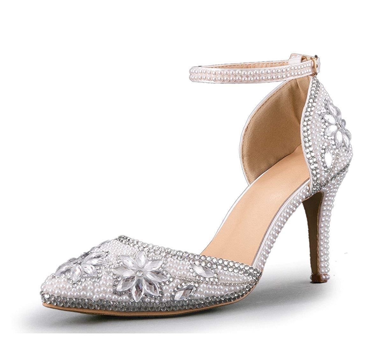 Qiusa Spitzschuh-Hochzeits-Schuhe der Frauen handgemachte Wulstige Leistungs-Schuhe (Farbe   Silber-9cm Heel Größe   7.5 UK)