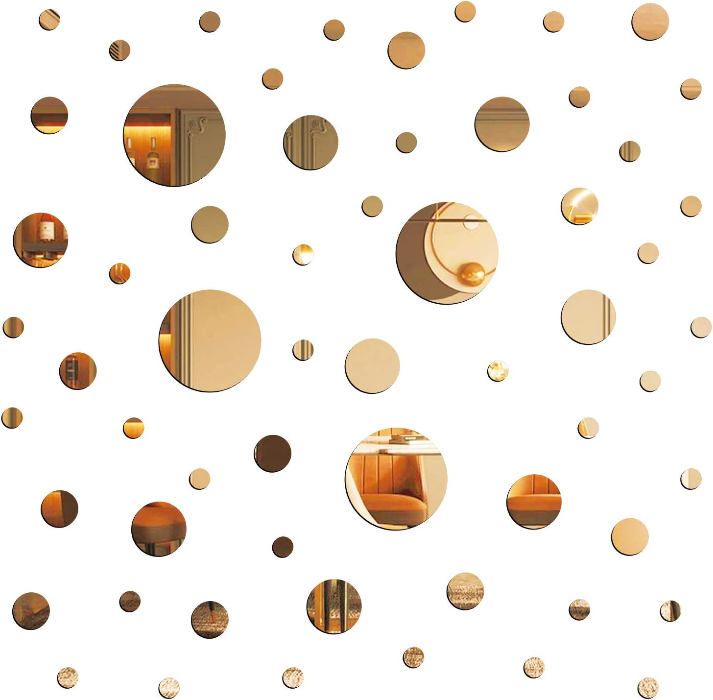 E EVENLIM 60 Pieces Gold Acrylic Round Circle Plastic Mirror DIY Wall Stickers Tiles Self Adhesive Decor for Living Dining Room Bedroom Bathroom Office Hallway House Mirrors Wall Decals Decorations…
