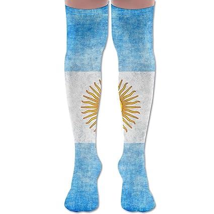 Bandera de la Argentina Grunge textura poliéster algodón sobre la rodilla pierna alta calcetines divertidos unisex