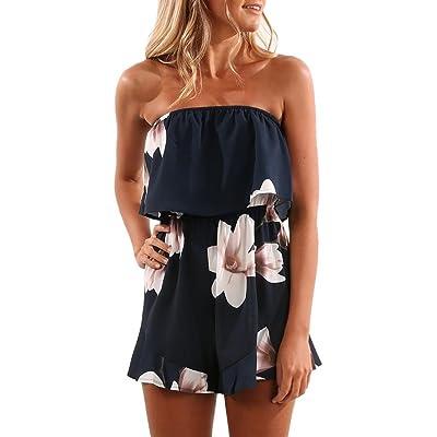 Kolylong 2018 été femme Bustier Combishort Combinaison Sexy Ensemble de Shorts Imprimé floral top à épaules dénudées Slash Jumpsuit Playsuit Beach vêtements pour Vacances