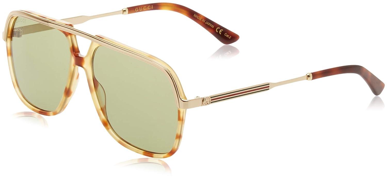 eaa0c9cd6a671 Amazon.com  Gucci Green Sunglasses GG0200S 003 57  Clothing