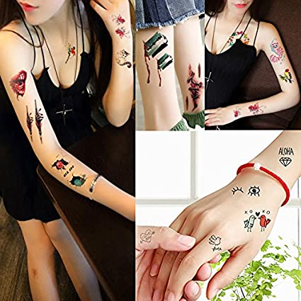 20 hojas niños dibujos animados patrón pequeño temporal tatuaje ...