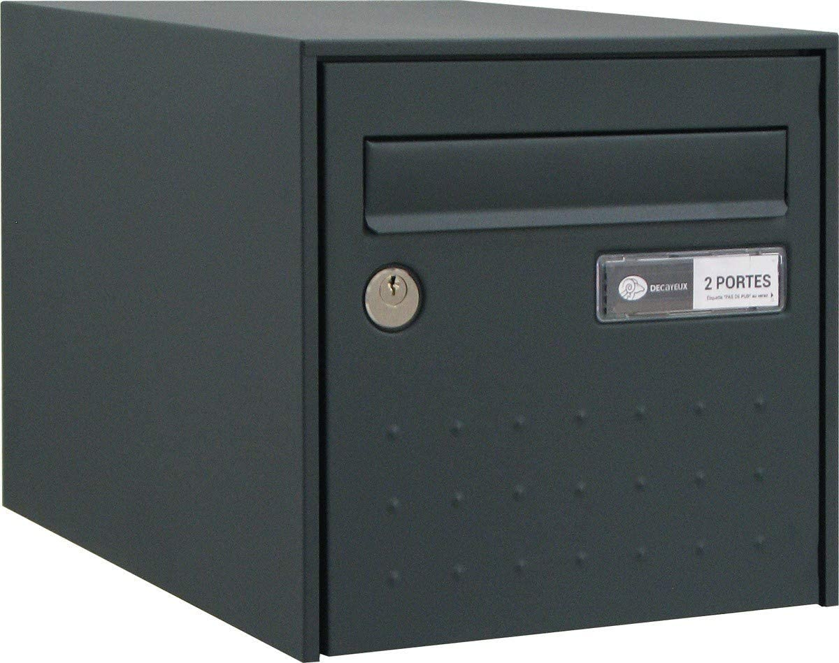 Bo/îte aux lettres gris anthracite simple face STEEL BOX Decayeux