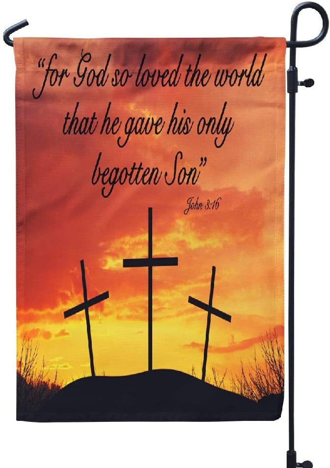 FINOY Jesus Garden Flags Christian Motivational Quote God World Son with Home Yard Flags Decorative 12X18 Inches Double Sided Printing Waterproof Flags Bright Sky