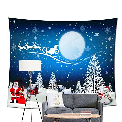 (POPPAP Christmas Wall Decor Tapestry, with Winter Wonderland Santa Claus Elk Fly Moon Stars Snow Tree House Print Christmas Party Scene Setters Wall Decoration Background Accessory(79