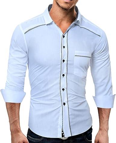 Yvelands Camisas Moda para Hombres Moda Casual Solapa Slim fit Camiseta de Manga Larga Tops Blusa Camisas de Vestir Fiesta Diario Verano Otoño Invierno: Amazon.es: Ropa y accesorios