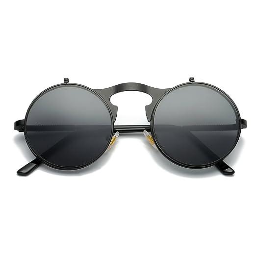 d45a933553 Amazon.com  VeBrellen Retro Round Flip-Up Steampunk Sunglasses Clamshell  Metal Frame Sunglasses (Black Frame Grey Lens