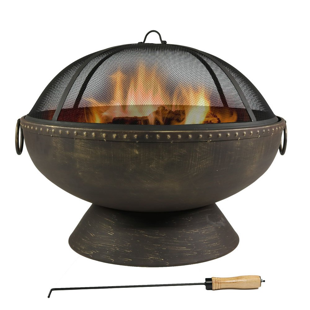 30 Inch Royal Fire Bowl Fire Pit with Handles and Spark Screen by Sunnydaze