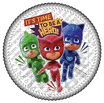PJ Masks Time for a Superhero Edible Cake Topper or Cupcake Topper Decorations (8""