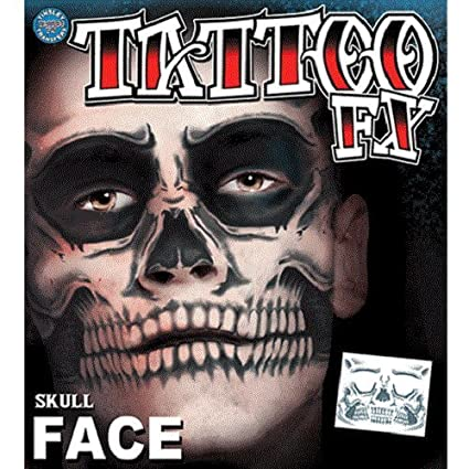 e5a0be4d9 Amazon.com: Christien Tinsley Transfers Skull Face Halloween Tattoo Costume  Makeup TT-CT411: Toys & Games