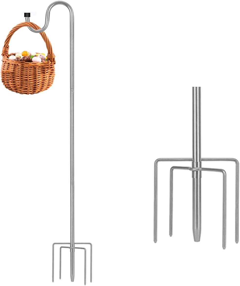 TALITARE Shepherds Hook 46 Inch,5/8 Inch Width Heavy Duty Adjustable Stainless Steel Shepherd Hooks with 5-Prong Base for Outdoor Lanterns Planting Hanger Weddings Decor(1pack)