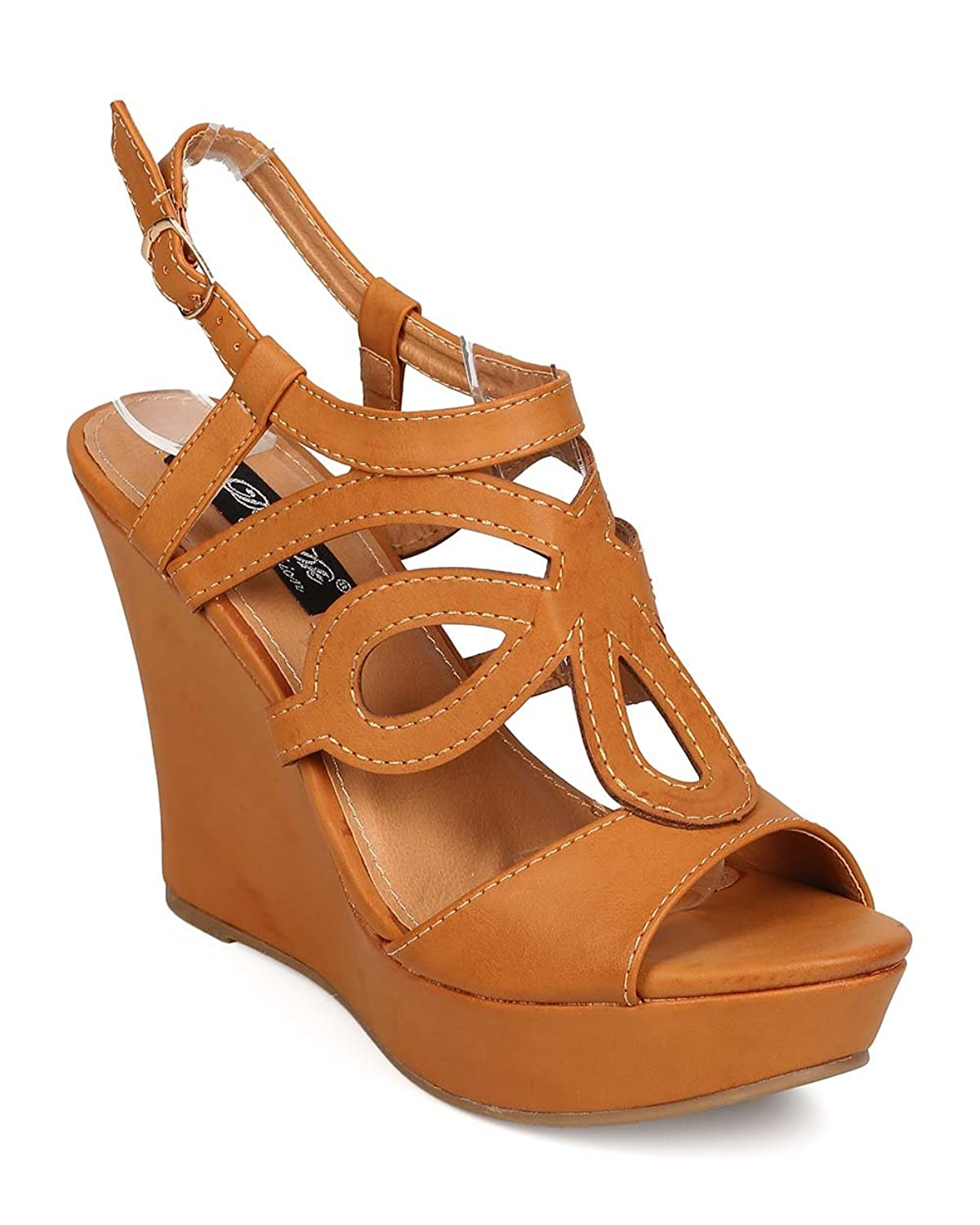 DbDk Women Leatherette Peep Toe Strappy Cut Out Caged Platform Wedge Sandal EH43 - Camel B01G4I9HJG 9 M US