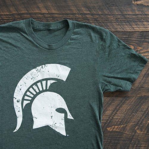 Nudge Printing Michigan State University Spartan Helmet Sparty Head Grunge T-Shirt - Green (Large) ()