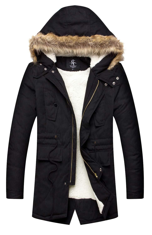 NITAGUT Men's Hooded Faux Fur Lined Warm Coats Outwear Winter Jackets (L, Black) by NITAGUT