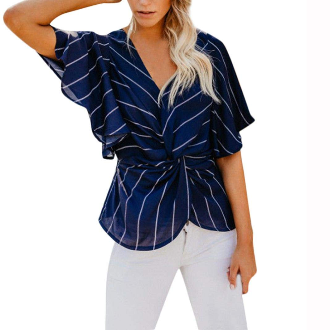Spbamboo Womens Strip Print V Neck Half Sleeve T-shirts Casual Loose Tops Blouse