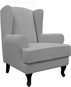 Easy-Going Stretch Wingback Chair Sofa Slipcover 2-Piece Sofa Cover Furniture Protector Couch Soft with Elastic Bottom, Spandex Jacquard Fabric Small Checks, Light Gray