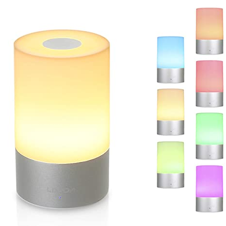 Lámpara de Mesa, Lixada Lampara Mesita Noche, con Luz Blanca Cálida Regulable y RGB 256 Color-Cambiante, Control Táctil de 360 grados para ...