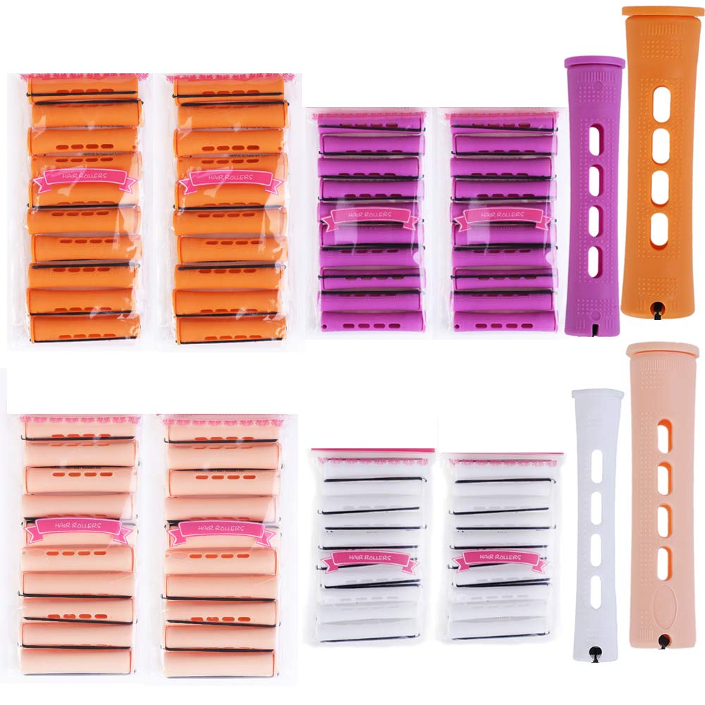 Hair Perm Rods Set 80 Pieces 4 Sizes Jumbo Large Medium Small Plastic Cold Wave Perming Rods Curlers for Straight Curly Natural Hair Hairdressing Styling Hair Rellers Tool (Orange Yellow Purple White)
