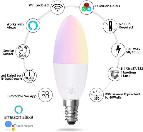 Cambio de color con Alexa Siri Google Home bombilla LED SmartPhone RC Bombilla Edison E27//E26//B22// E14 L/ámpara de 6W Bombilla de vela WIFI equivalente 60W