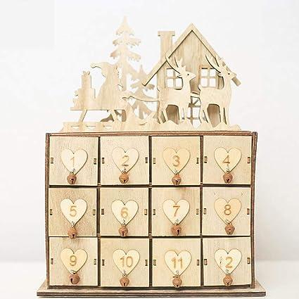 Caja de almacenamiento para calendario de Navidad, caja de madera innovadora para decoración, adorno
