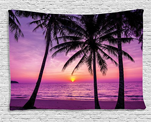 Ambesonne Ocean Decor Tapestry, Palm Trees Silhouette at Sunset Dreamy beyond the Relaxing Ocean Dusk Warm Twilight, Wall Hanging for Bedroom Living Room Dorm, 80 W X 60 L, Fuchsia (Sunset Ocean)