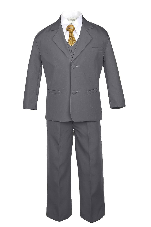 4T 6pc Boy Baby Kid Teen Dark Grey Suit Set Satin Leopard Necktie Outfits All Size