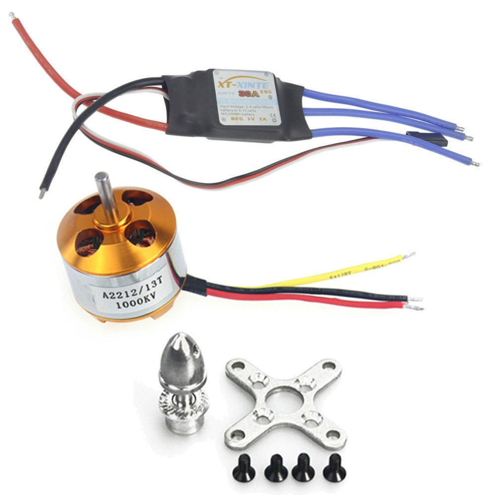 A2212 1000kv Brushless Outrunner Motor 30a Speed Controller Esc Rc For Quadcopter Airplane Aircraft 4 Axis Ufo