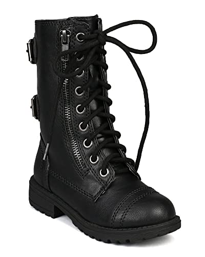 a02063ad6f Amazon.com | Soda Girls Kids Dome-2S Lace Up Military Combat Boots, Black,  1 | Boots