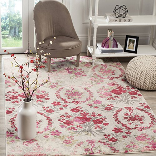 3' x 5' Vintage Flower Bouquet Ivory Pink Colorful Distressed Area Rug, Polyester Contemporary Decorative Shabby Chic Floral Bloom Bright Pretty Vibrant, Rectangular Living Room Kitchen Accent Carpet (Bouquet Pretty Pink)