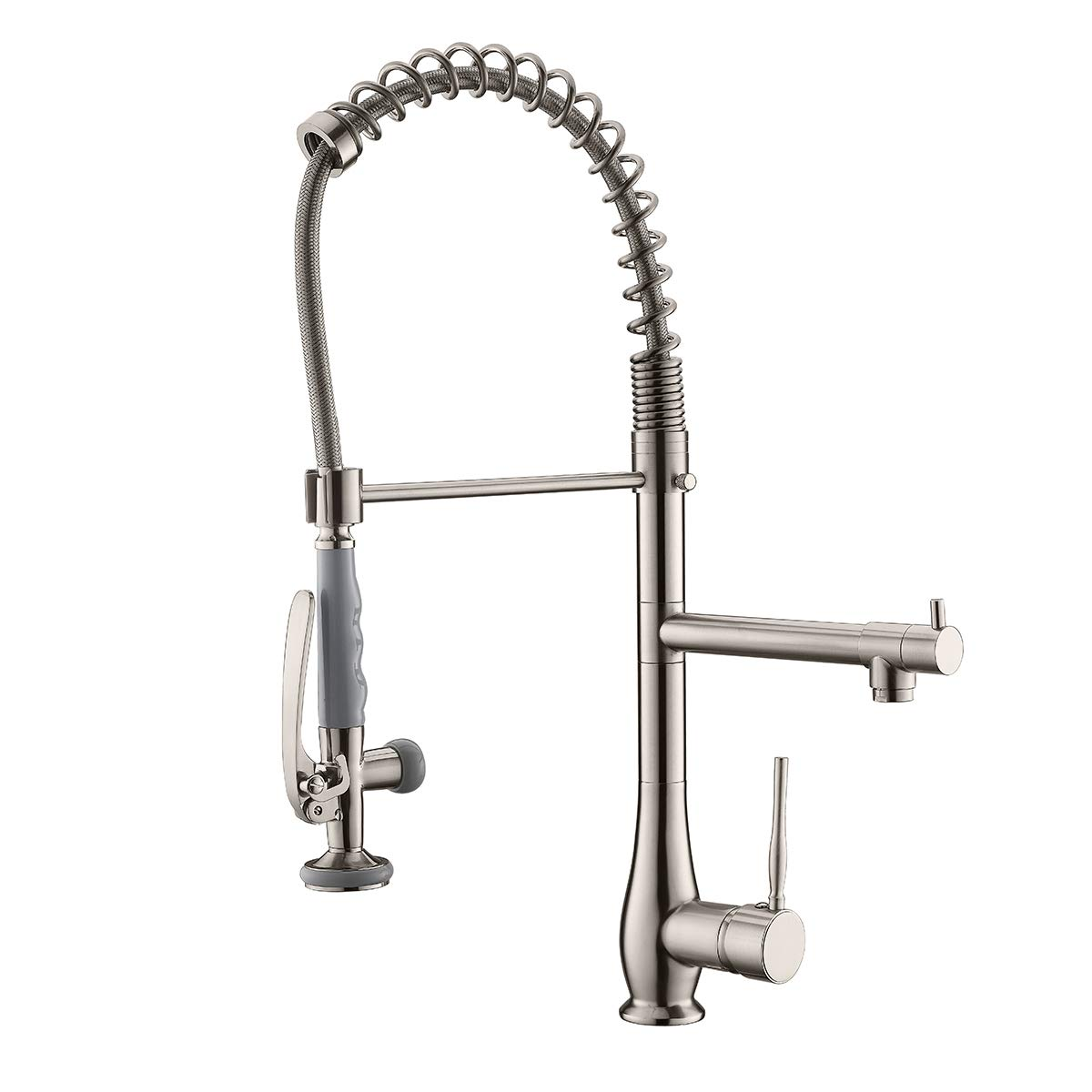 Gimili Commercial Kitchen Faucets with Pull Down Sprayer Stainless Steel Single Handle Swivel Two Head Kitchen Sink Faucet Brushed Nickel