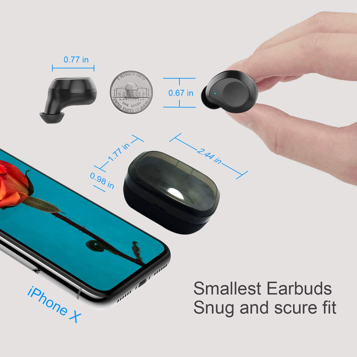Wireless Earbuds Chof TWS-HB908 Bluetooth 5.0 True Wireless Headphones Invisible Touch Control with Mic for iPhone and Android Smart Phones