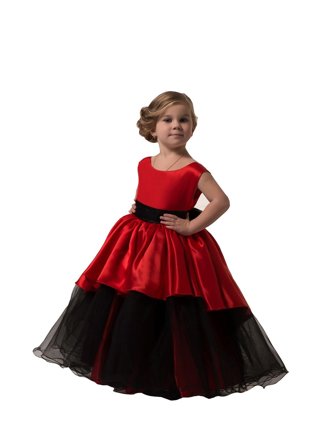 Banfvting Graduation Gown Children Red and Black Floor Length Flower Girl Dresses Sleeveless With Sash (6)