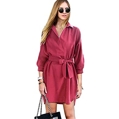 Amazon.com: Sexy Fashion Women Shirt Dress Green Belt V Neck Long Sleeve Vintage Short Mini Woman Dresses Female Vestidos: Clothing
