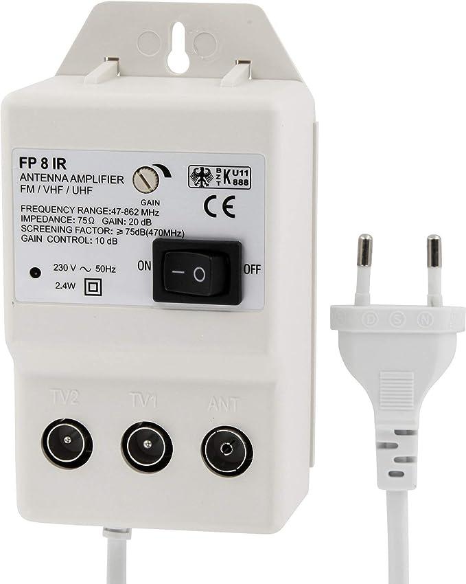 Amplificador digital de antena para 2 dispositivos, amplificación UHF de 20 dB, VHF de 36 dB, 0 – 900 MHz, apto para cable de DVB-T