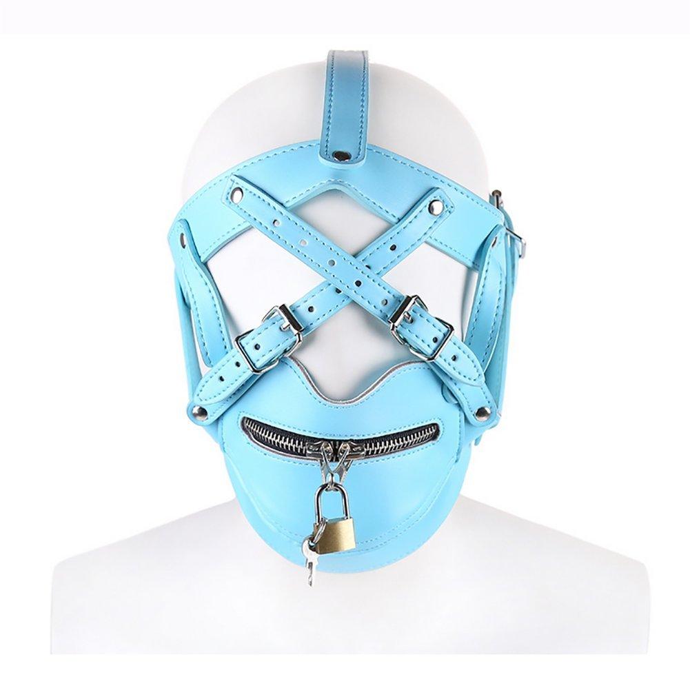 PU Cuero Arnés De Cabeza Adulto Bondage Mascarada Mask Party Props Mascarada Bondage Producto BDSM Esclavo Sex Mask Esclavitud Capucha Con Bloqueo,azul b042ec