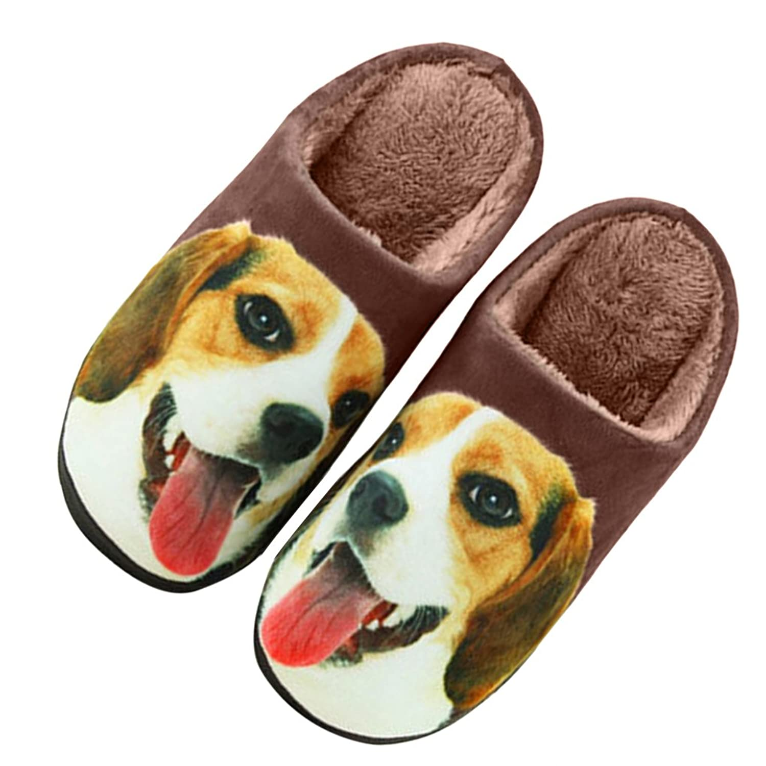 3D Cat/ Dog Warm Plush Indoor Slippers Anti-skid Slip-on Household Shoes for Womens Mens Couple