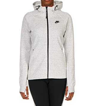 5f16fc143aac Nike Women s Sportswear Tech Fleece Full-Zip Hoodie White Heather Balck  683794-