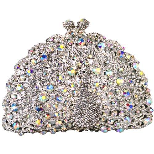 Exquisite White Peacock Crystals Half Moon Hard Case Clutch Evening Bag Handbag Purse w/Detachable Chain, Bags Central