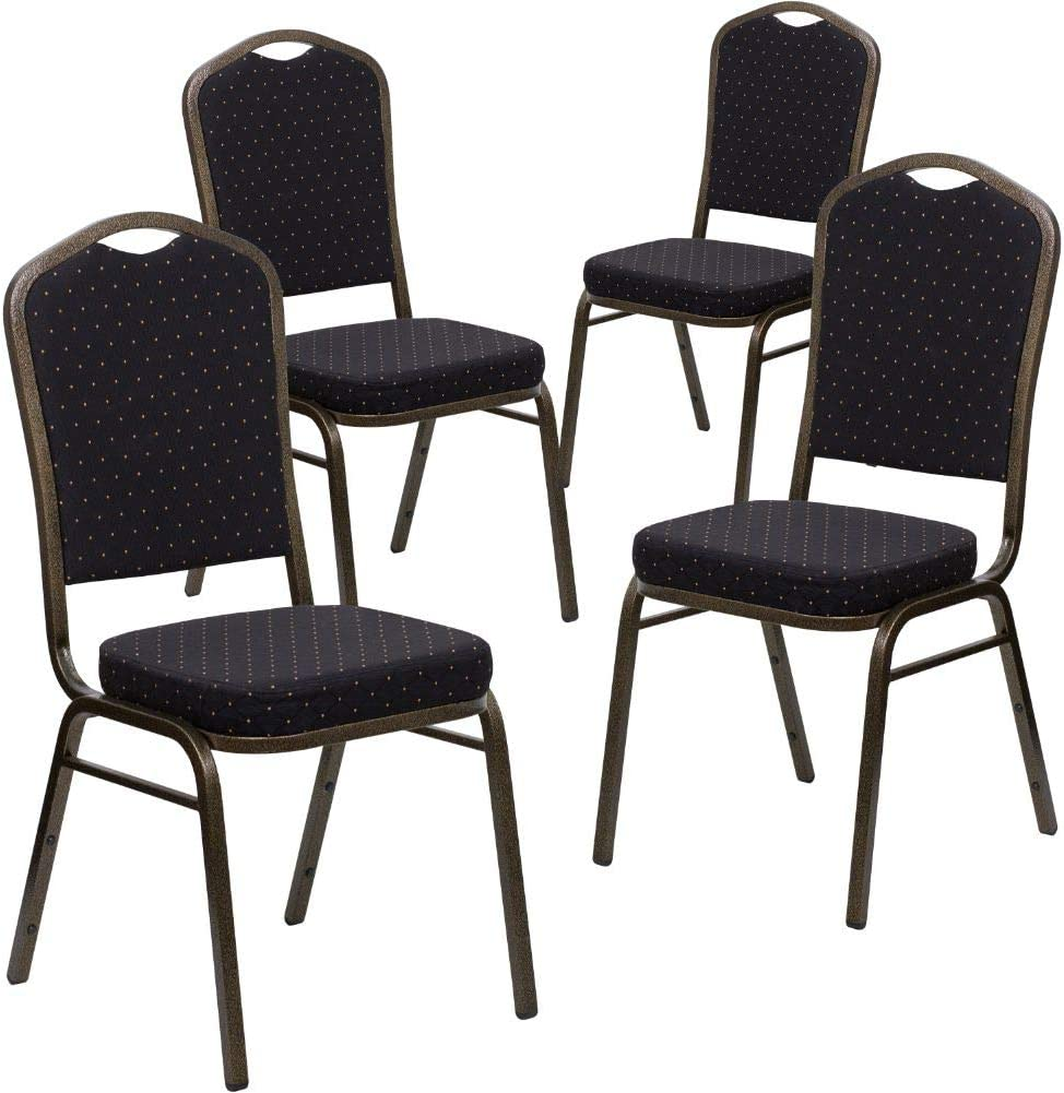 Flash Furniture 4 Pk. HERCULES Series Crown Back Stacking Banquet Chair in Black Patterned Fabric - Gold Vein Frame
