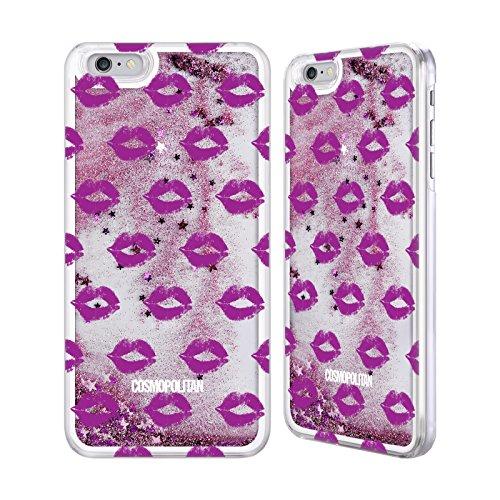 Official Cosmopolitan Purple Kiss Mark Pink Liquid Glitter Case Cover for Apple iPhone 6 Plus / 6s Plus