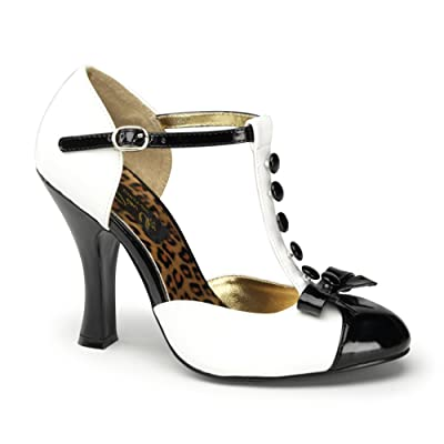 Womens T Strap Pumps 4 Inch Heels Button Sandals Dorsay Shoes Round Toe Bow