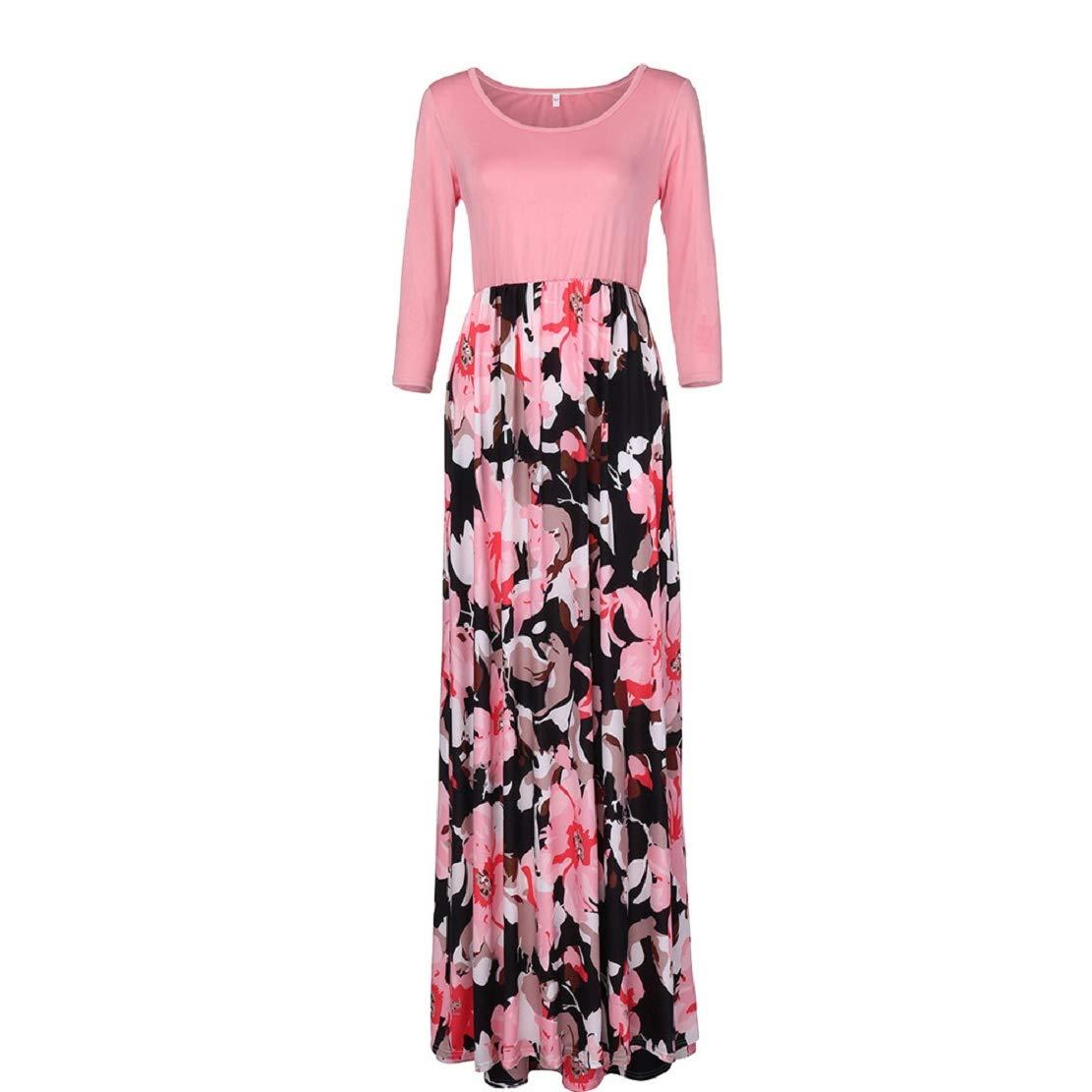 Women Long Gown Summer Beach Sleeveless Sundress Boho Floral Print Dress Maxi Dress by Lowprofile